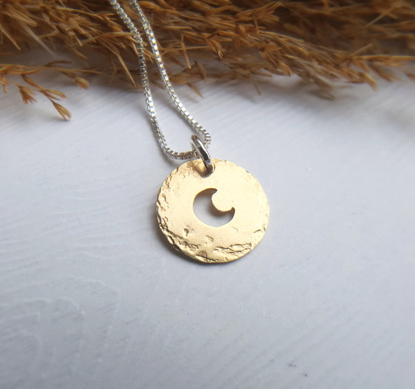 Tiny Crescent Moon Charm - Gold moon necklace