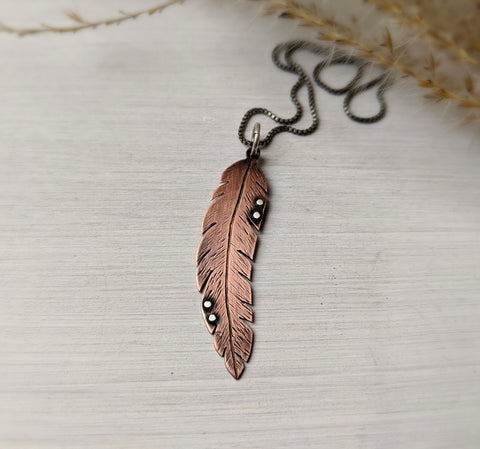 Feather Necklace - Mixed Metal