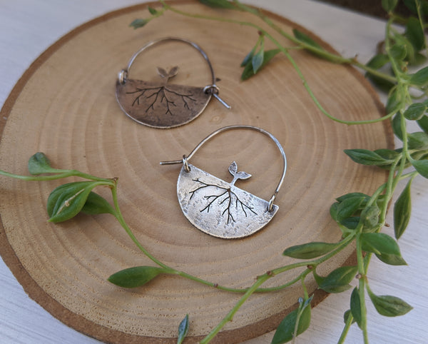 New Growth Hoops - silver sprout earrings