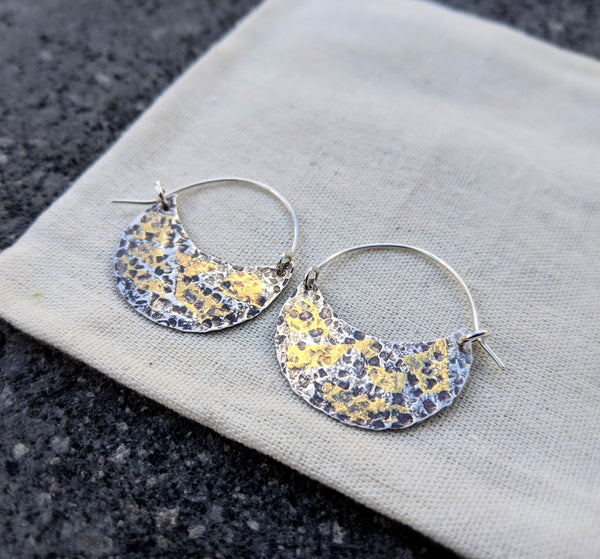 Hammered Hoops - silver and 24kt gold