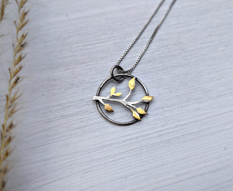 Gold Leaves Pendant - mixed metal keum-boo