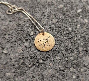 Branch Charm Necklace - brass and sterling silver