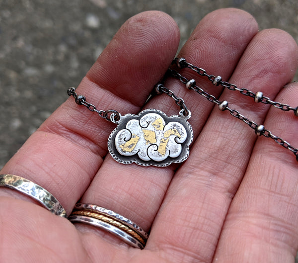 Cloud Necklace - Keum Boo silver and gold