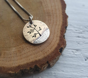 Windswept Pine - mixed metal tree pendant