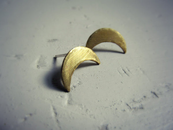 Crescent Stud - Brass Inverted Crescent Moon Stud Earring