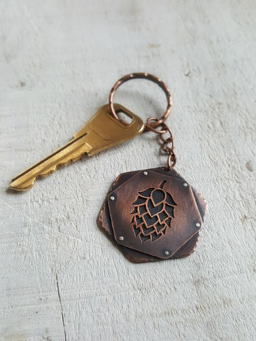 Copper Hop Keychain -  Craft Beer Nerd Gift
