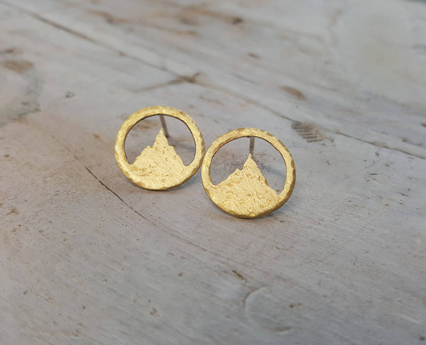 Mountain Studs - Brass Mountain Earrings
