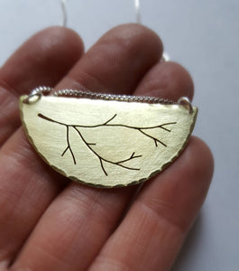 Tree Branch Pendant - Brass Twig Necklace