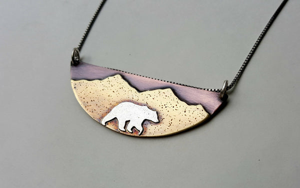 Bear Mountain Pendant - Grizzly Bear Mountain Landscape Necklace