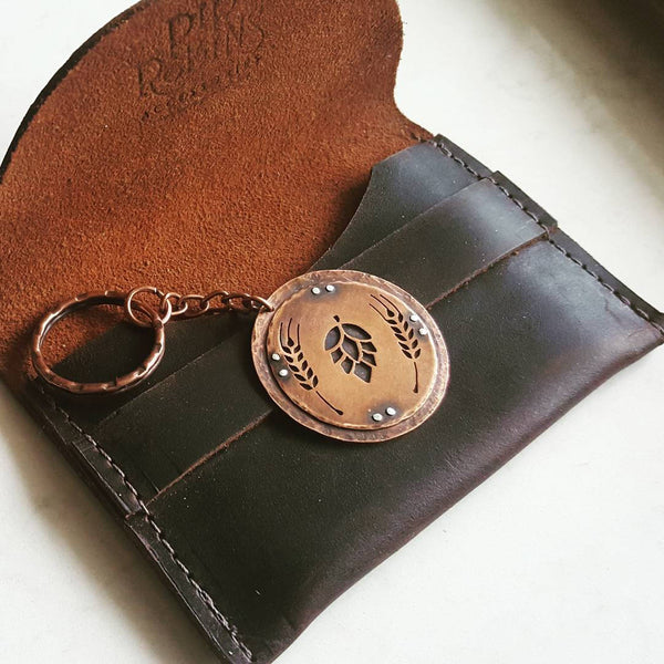 Hops and Grain Copper Keychain