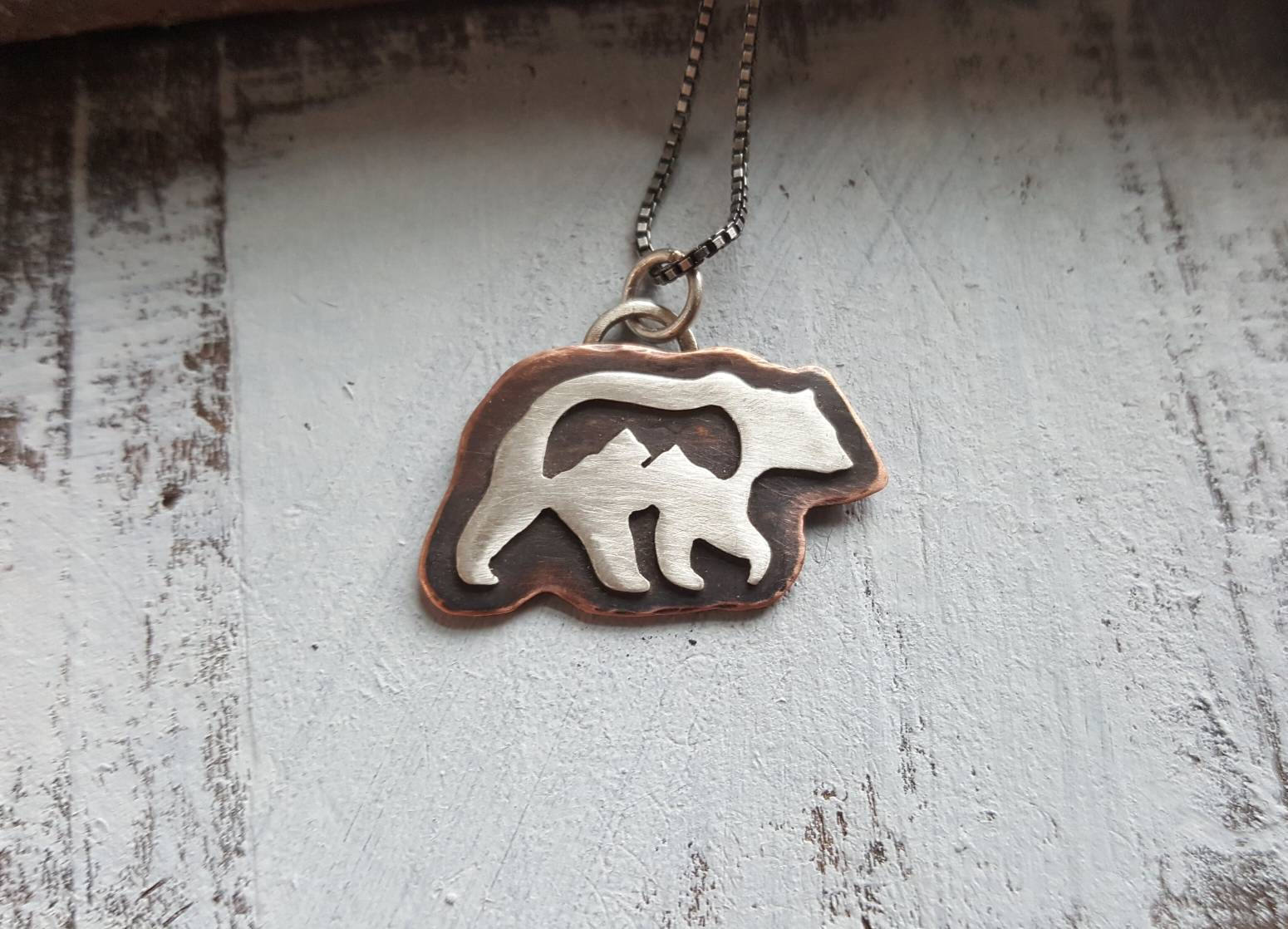 Rocky Mountain Grizzly - mixed metal bear mountain pendant