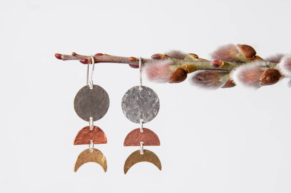 Moon Phase Earrings - mixed metal moon cycle dangles