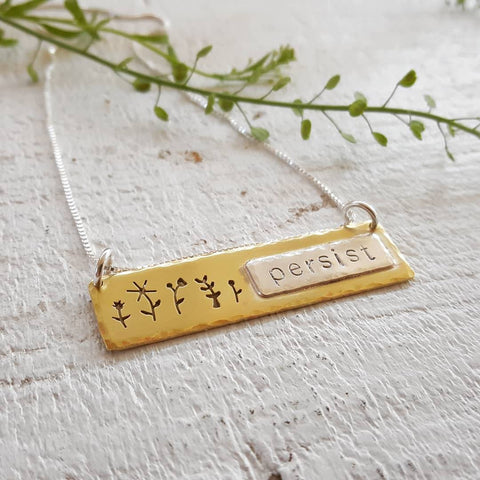 Persist - Wildflower Pendant - Hand stamped necklace