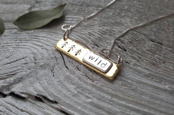 Wild - Pine trees pendant - hand stamped tree necklace