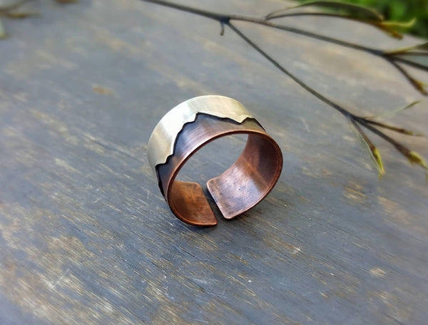 Mountain Range Ring - Copper and Sterling Silver - Mixed Metal Jewelry