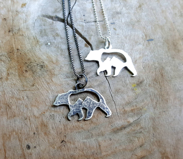 Silver Mountain Bear Pendant - Grizzly mountains