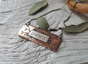 Vines Persist Pendant - hand stamped necklace