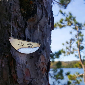 Windswept Pines - Mixed Metal Algonquin inspired pendant necklace