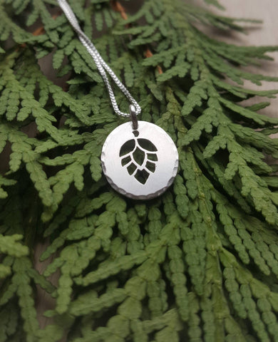 Silver Hop Pendant - Craft beer necklace