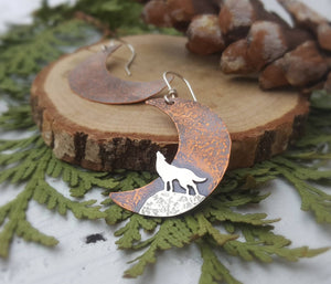 Howl at the Moon - Howling wolf earrings