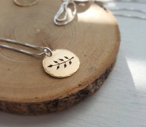 Gold fern charm - botanical necklace