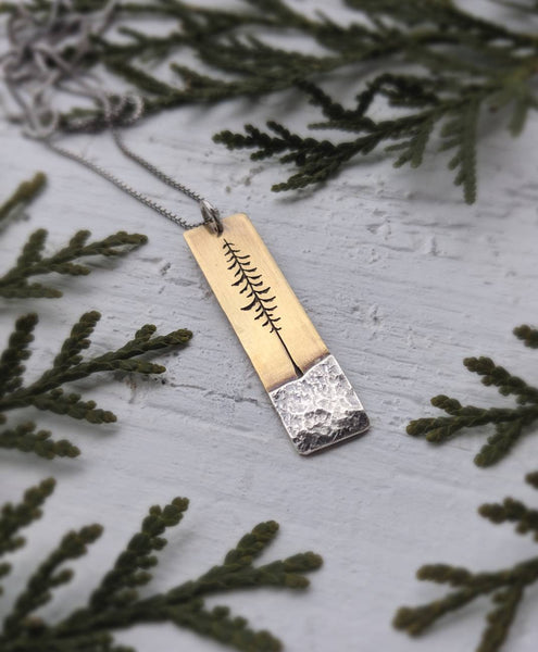 Tall Spruce - Mixed metal evergreen tree necklace