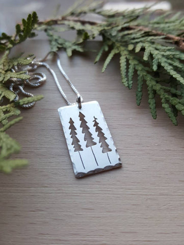 Three Pines Pendant - Sterling Silver Pine Tree Necklace