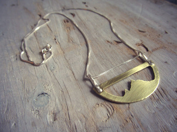 Mountain Range Pendant - Brass and Sterling Silver Mountains Necklace