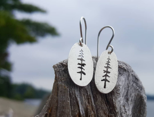 Reserved Listing - Tall trees earrings in brass