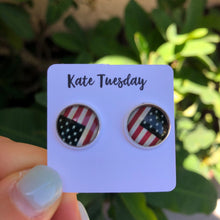 Load image into Gallery viewer, Patriotic Flag Stud Earrings 12mm