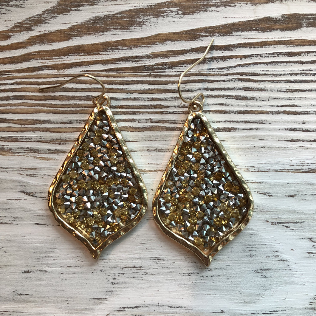 Gold James Lily Rhinestone Sparkle Rock Earrings