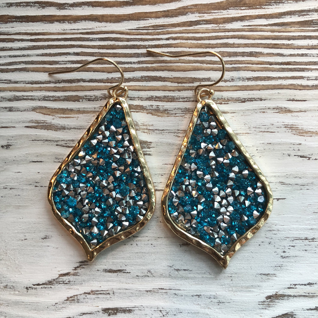 Blue James Lily Rhinestone Sparkle Rock Earrings