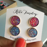 Under The Sea Double Druzy Earrings Set
