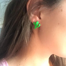 Load image into Gallery viewer, Sparkly Cactus Acrylic Earrings