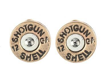 Gold Bullet Earrings Shotgun Shell