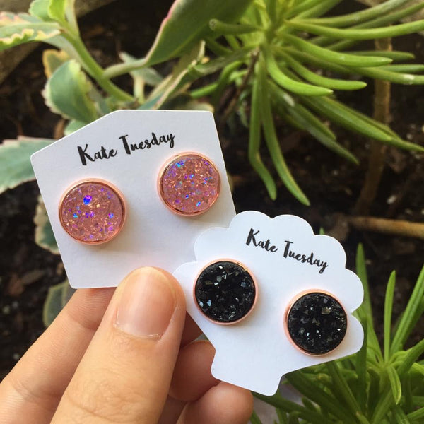 Pink and Black Druzy Sparkly Earrings