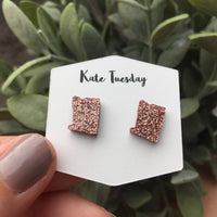 Rose Gold Oregon State Stud Earrings