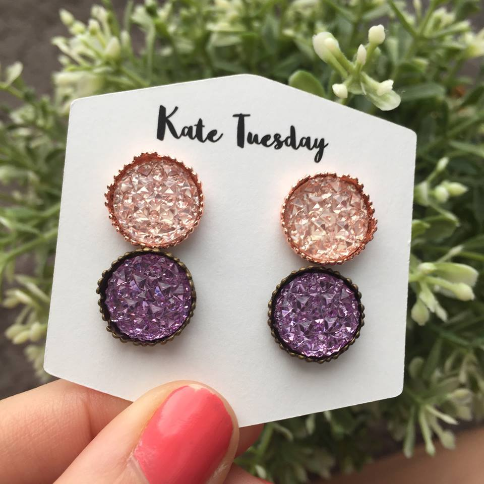 the princess setting double set of druzy earrings