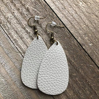 Matte Silver Grey Leather Oval Teardrop Earrings