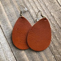Orange Brown Leather Teardrop Earrings