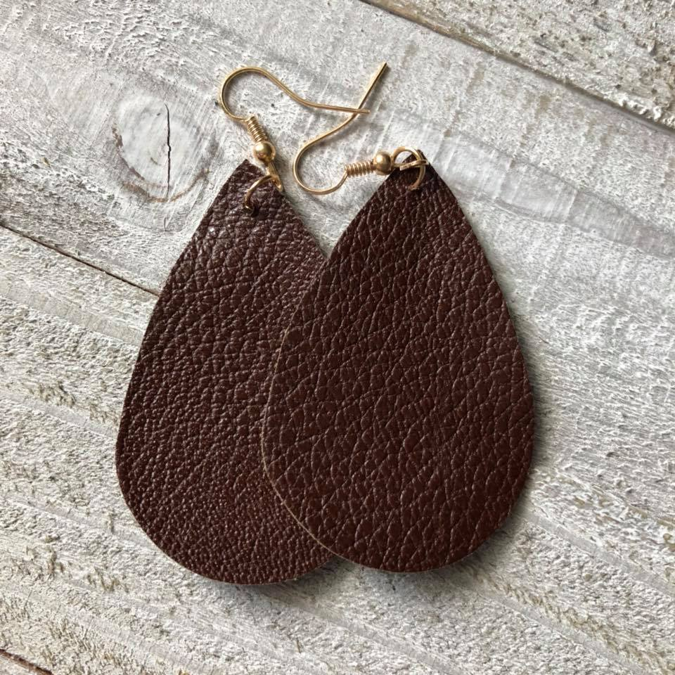 Brown Double Sided Leather Earrings