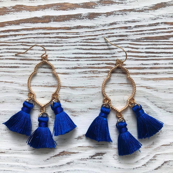 Blue Ava Gold Tassel Drop Hoop Earrings