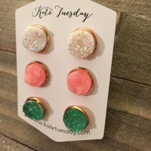 Load image into Gallery viewer, Susanna Set of 12mm Druzy Earrings