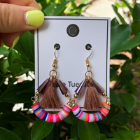 Funfetti Tassel Hang Earrings - Brown