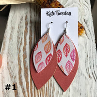 Thanksgiving Double Leaf Faux Leather Earrings