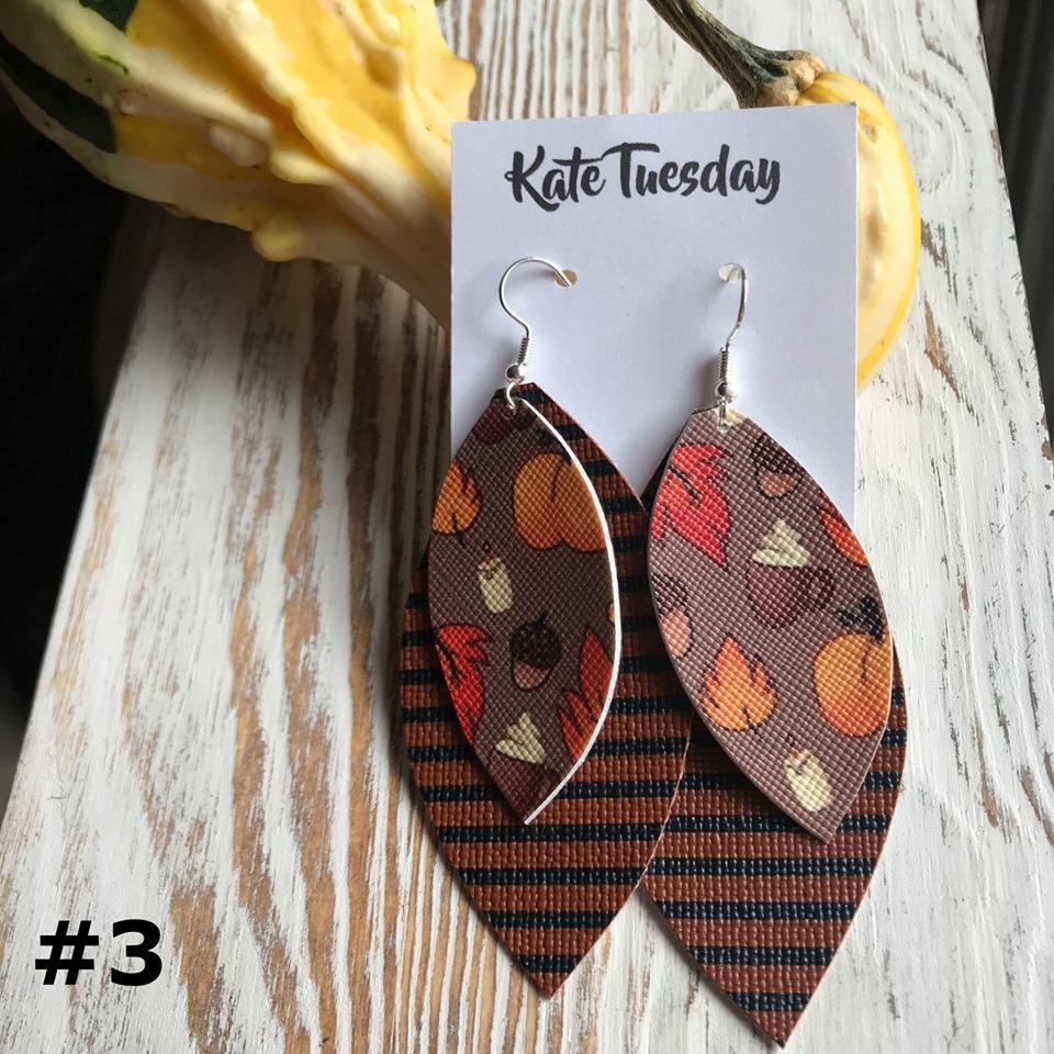 Thanksgiving Leaf Stripe Faux Leather Earrings