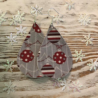 Holiday Silver Ornament Leather Earrings