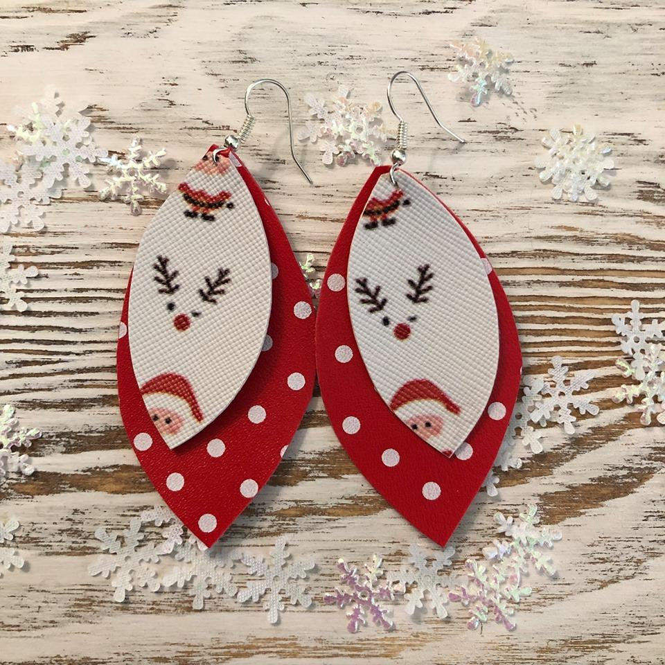 Holiday Santa Two Layer Dot Leather Earrings