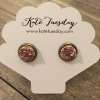 Rose Gold Druzy 10mm Earrings