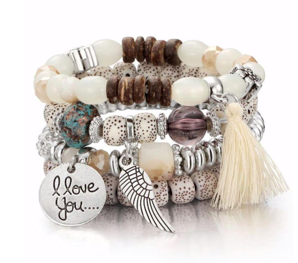 White Brown Love You Bracelet Set